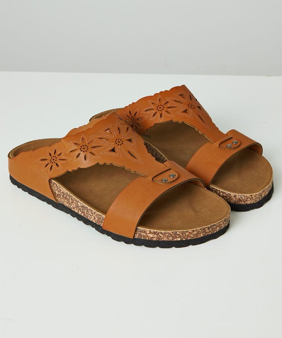 Evangeline Laser Cut Sandals Model Front