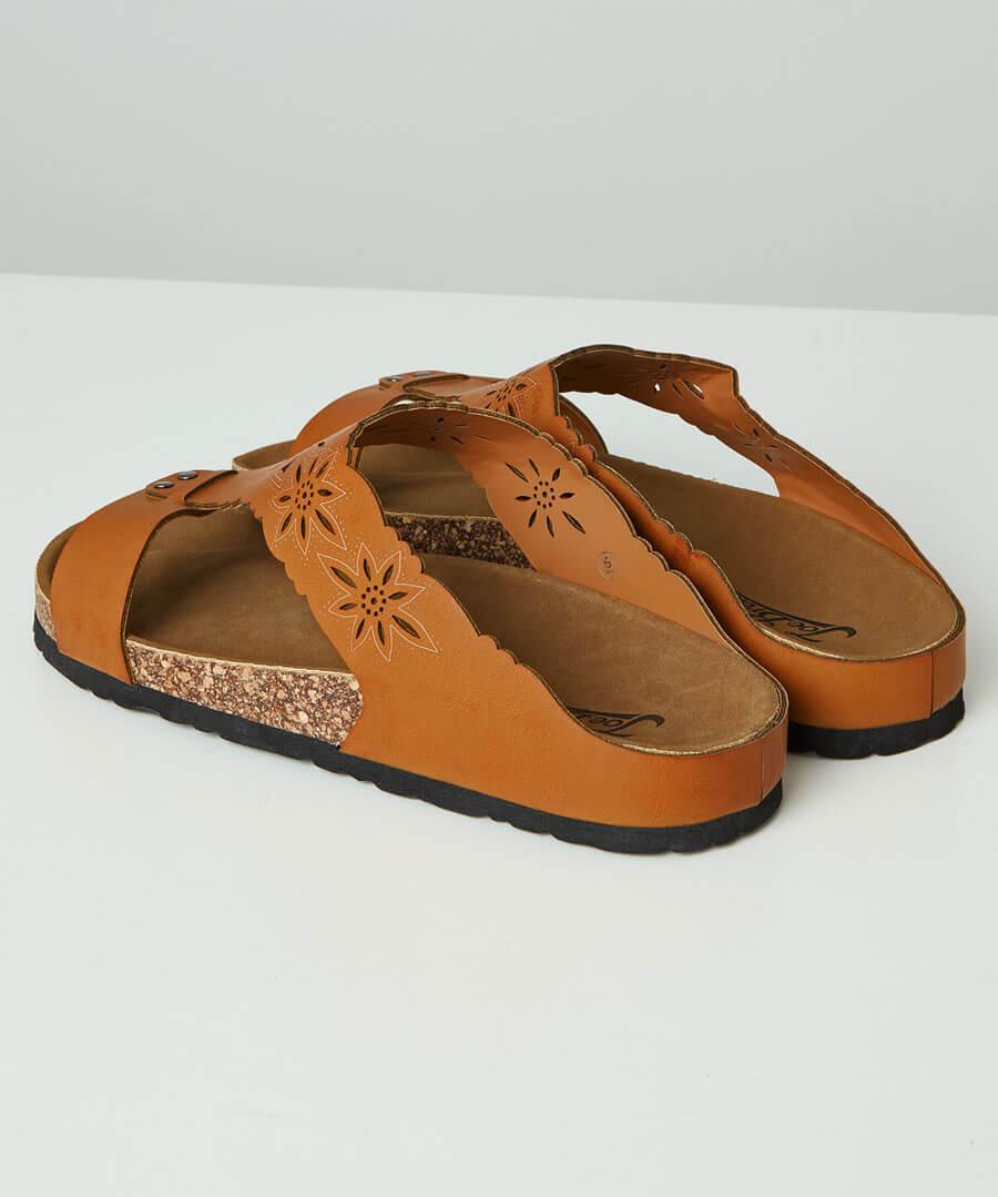 Evangeline Laser Cut Sandals Model Back