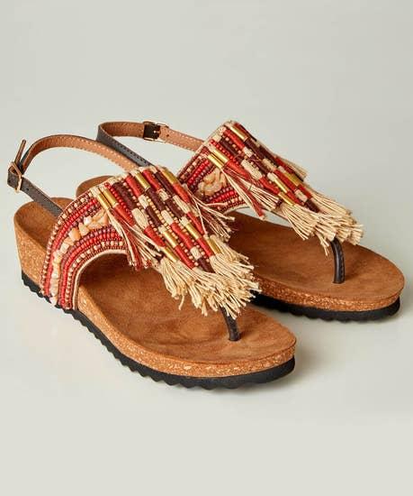 Izmir Leather Beaded Sandals