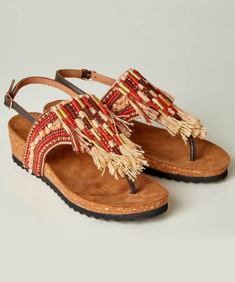 Izmir Leather Beaded Sandals
