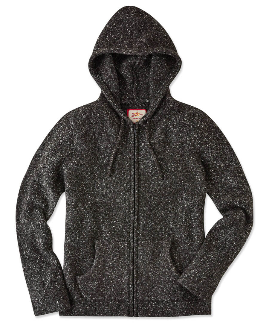 Hooded Zip Knit Model Front