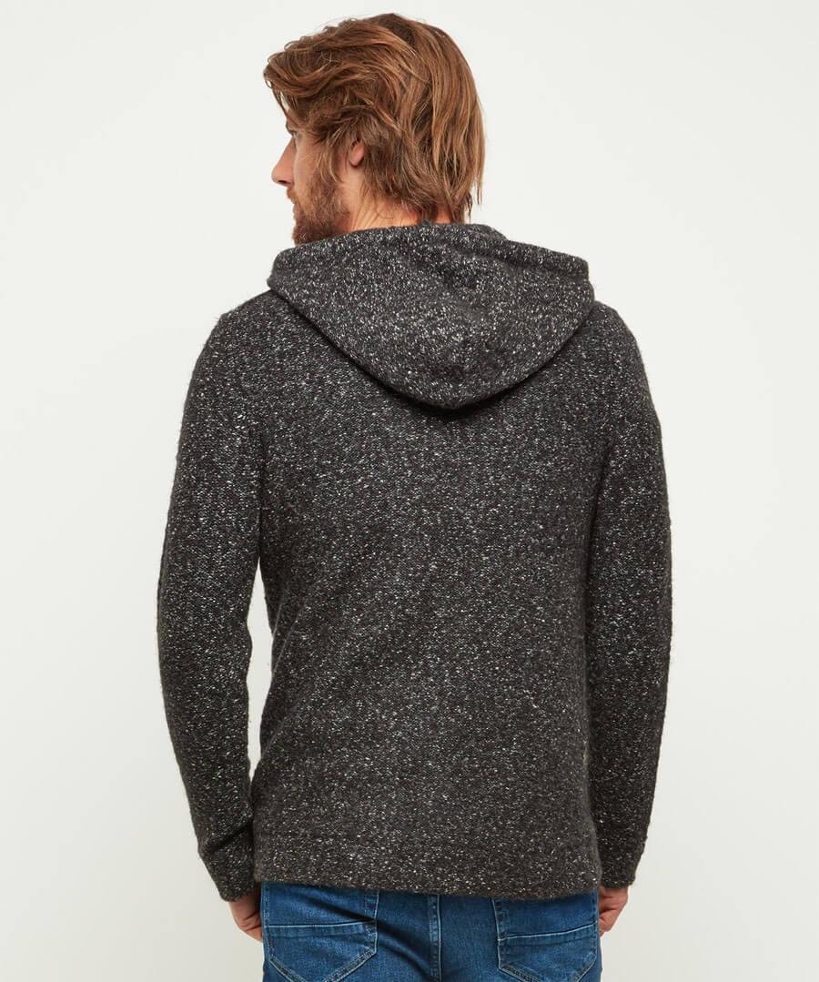 Hooded Zip Knit Model Back