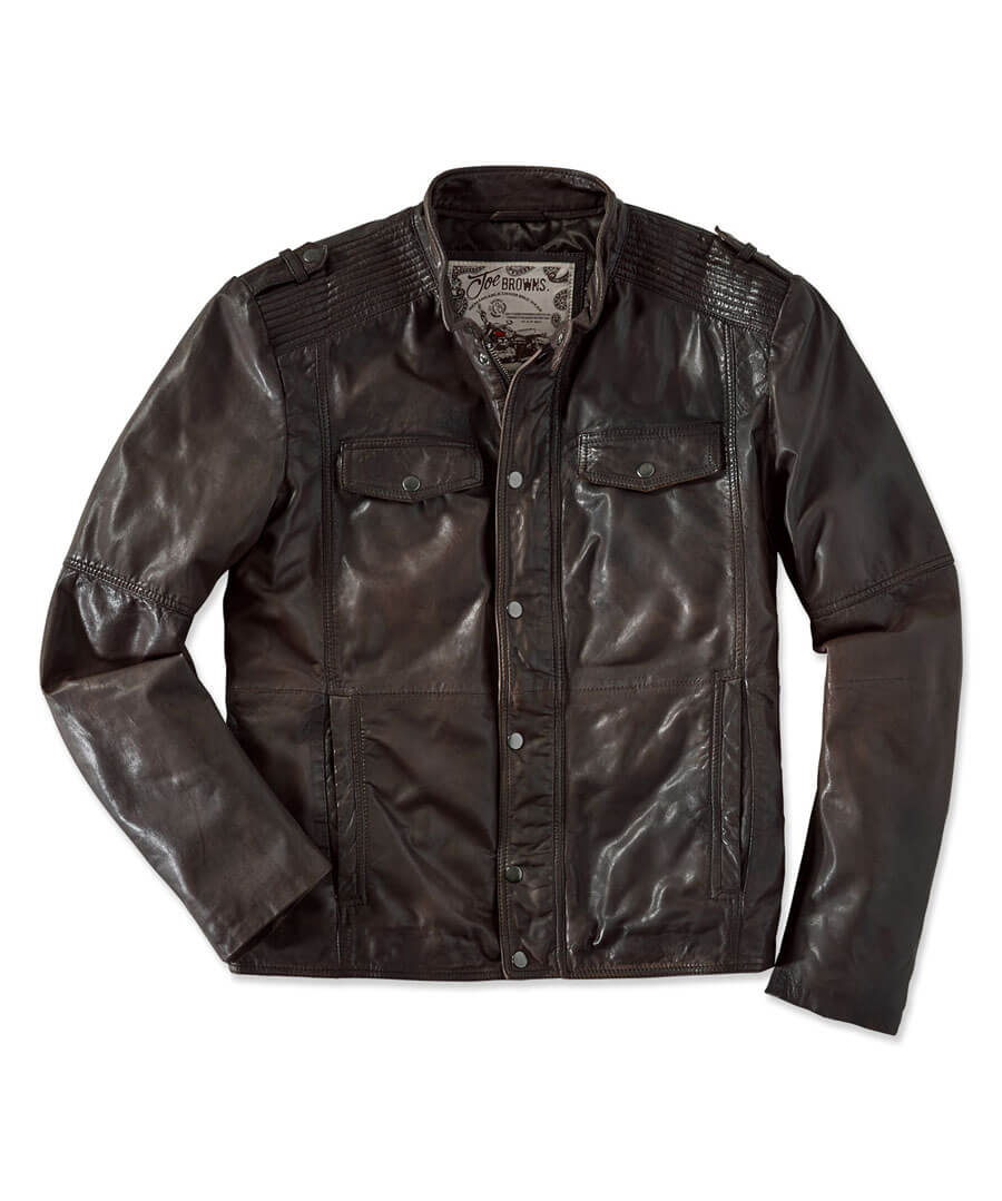 Rugged Leather Jacket Model Front