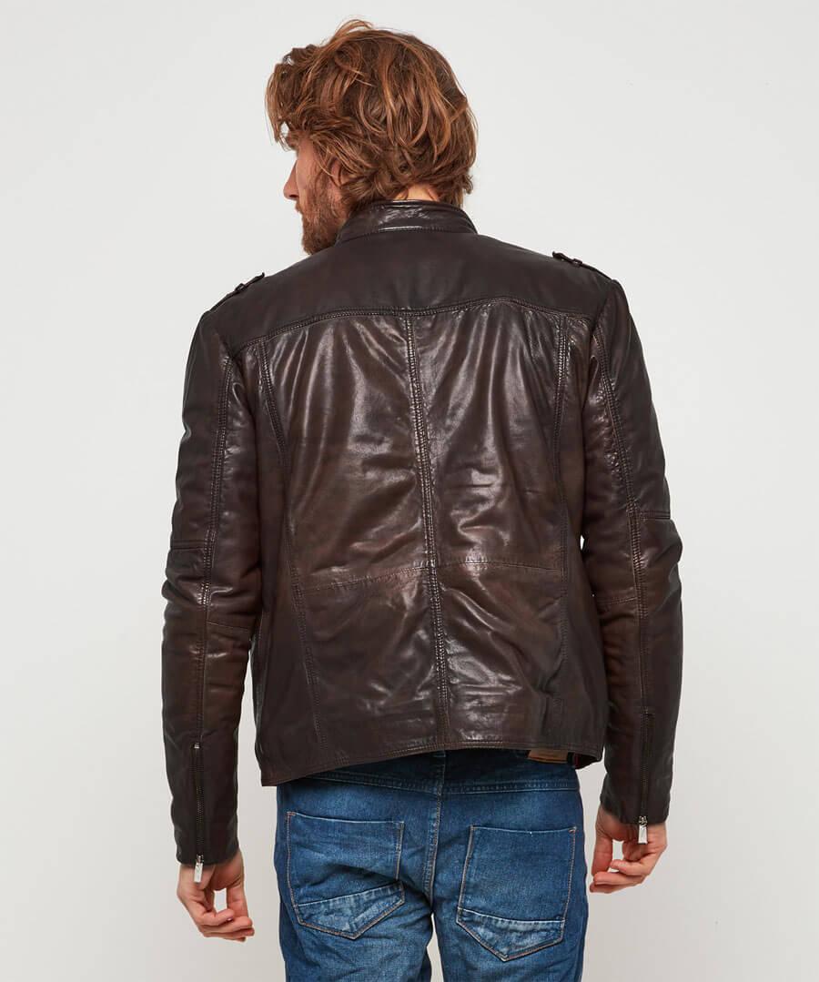 Rugged Leather Jacket Model Back