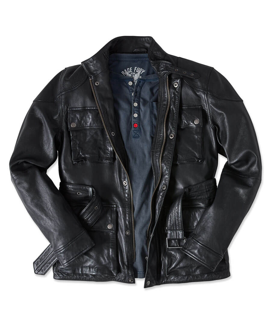 Perfect Pocket Leather Jacket Model Front