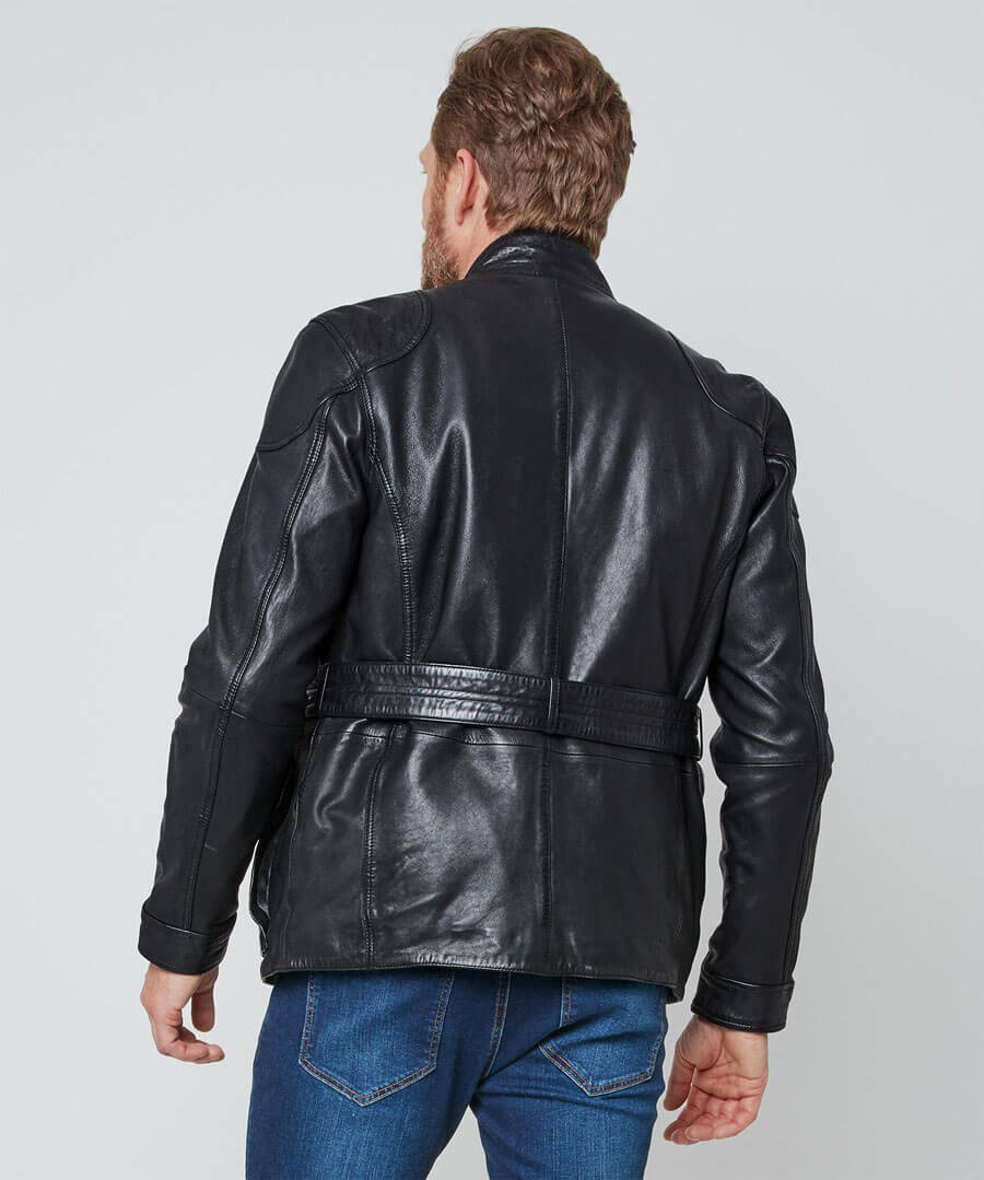 Perfect Pocket Leather Jacket Model Back