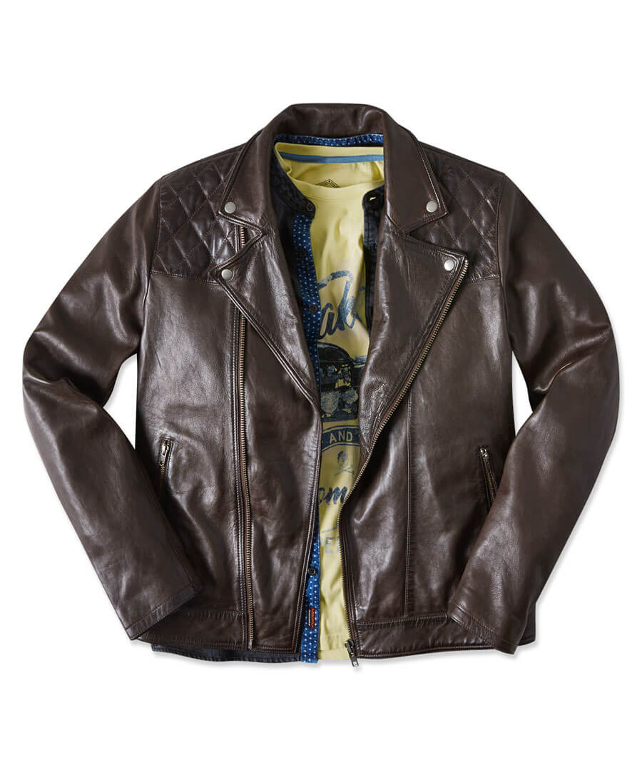 Aged To Perfection Leather Jacket Model Front