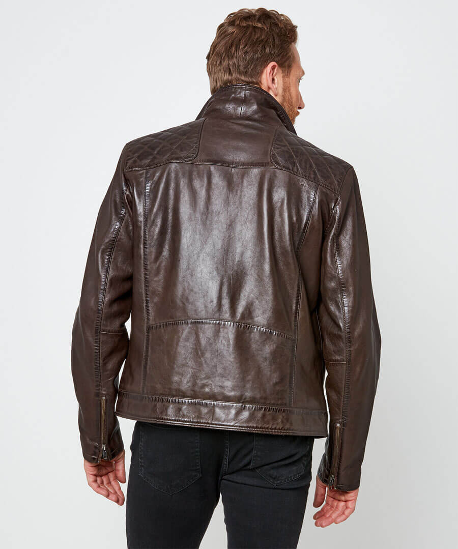 Aged To Perfection Leather Jacket Model Back