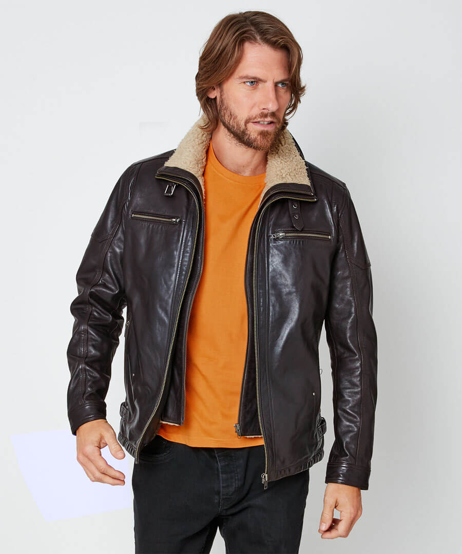 Double Up Leather Jacket Model Front