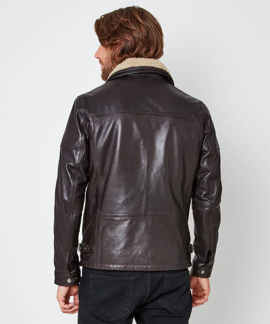 Double Up Leather Jacket Model Back