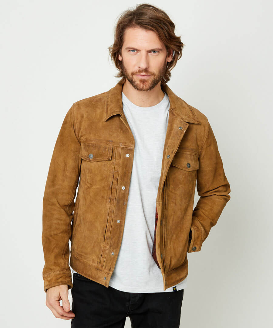 Good Times Suede Jacket Model Front