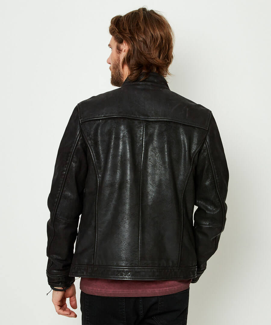 Life Is For Living Leather Jacket Model Back