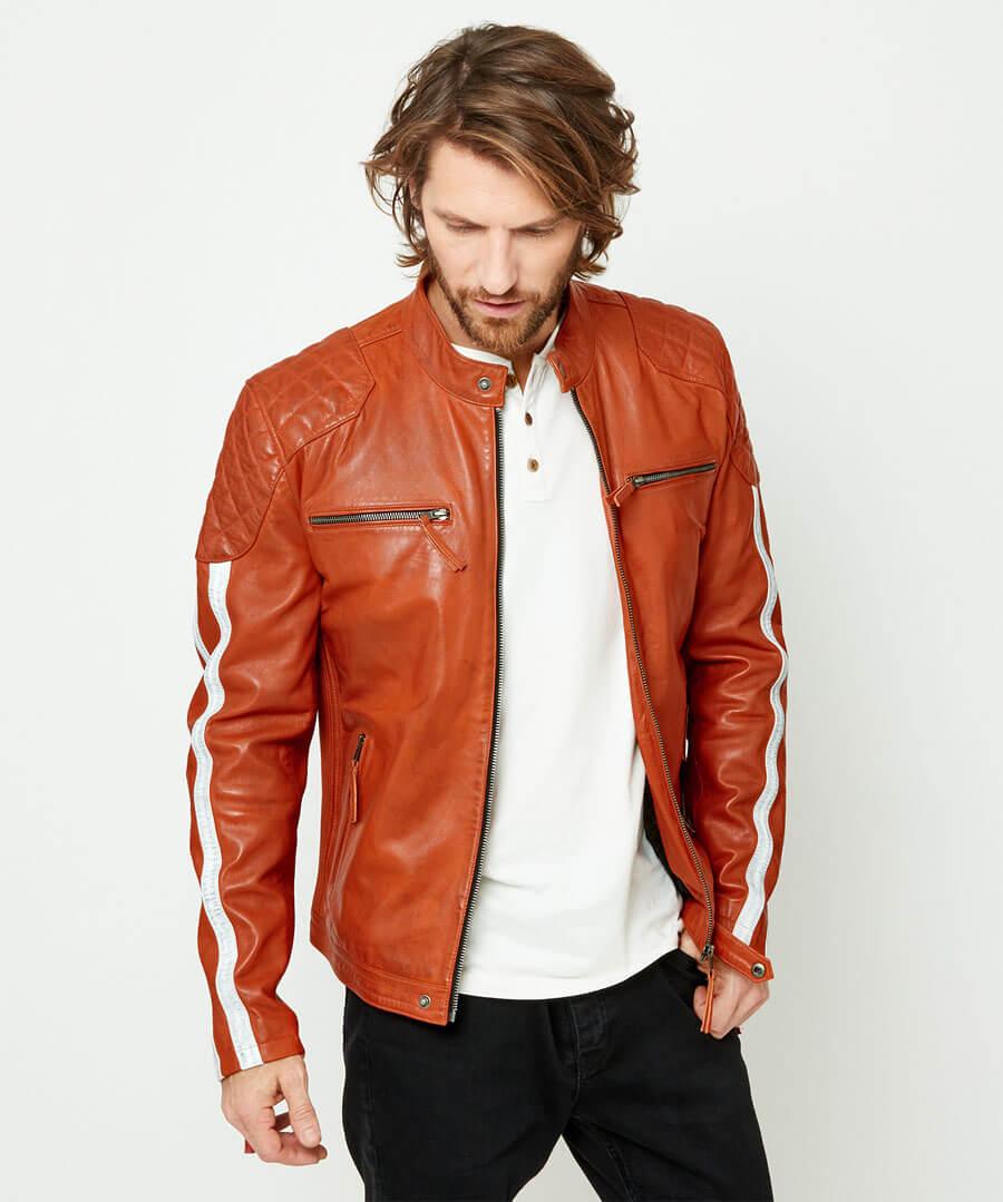 Road Holder Leather Jacket Model Front