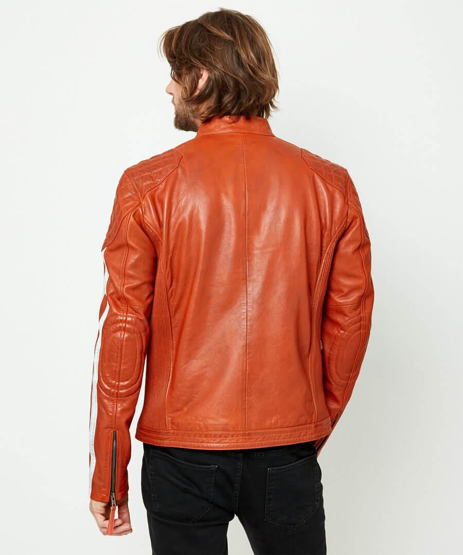 Road Holder Leather Jacket Model Back