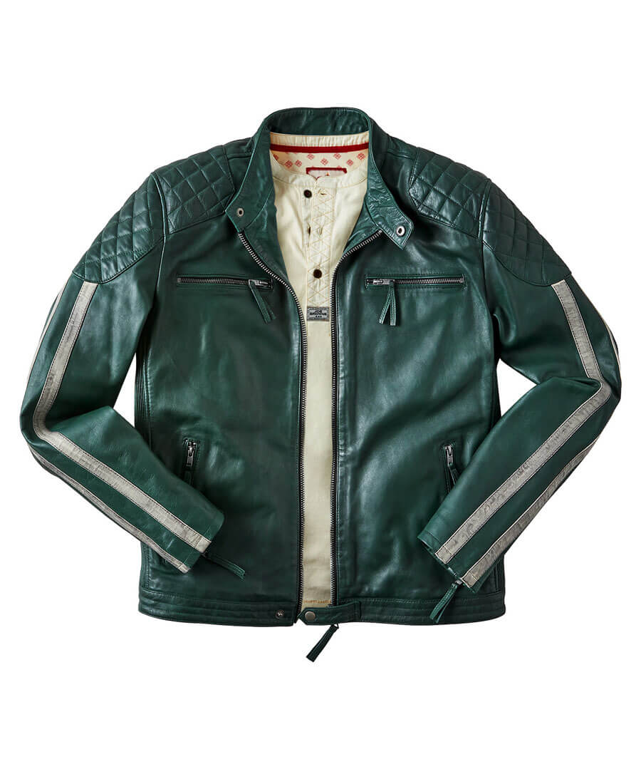 60s 70s Men's Clothing UK | Shirts, Trousers, Shoes Feel The Speed Leather Jacket $199.00 AT vintagedancer.com