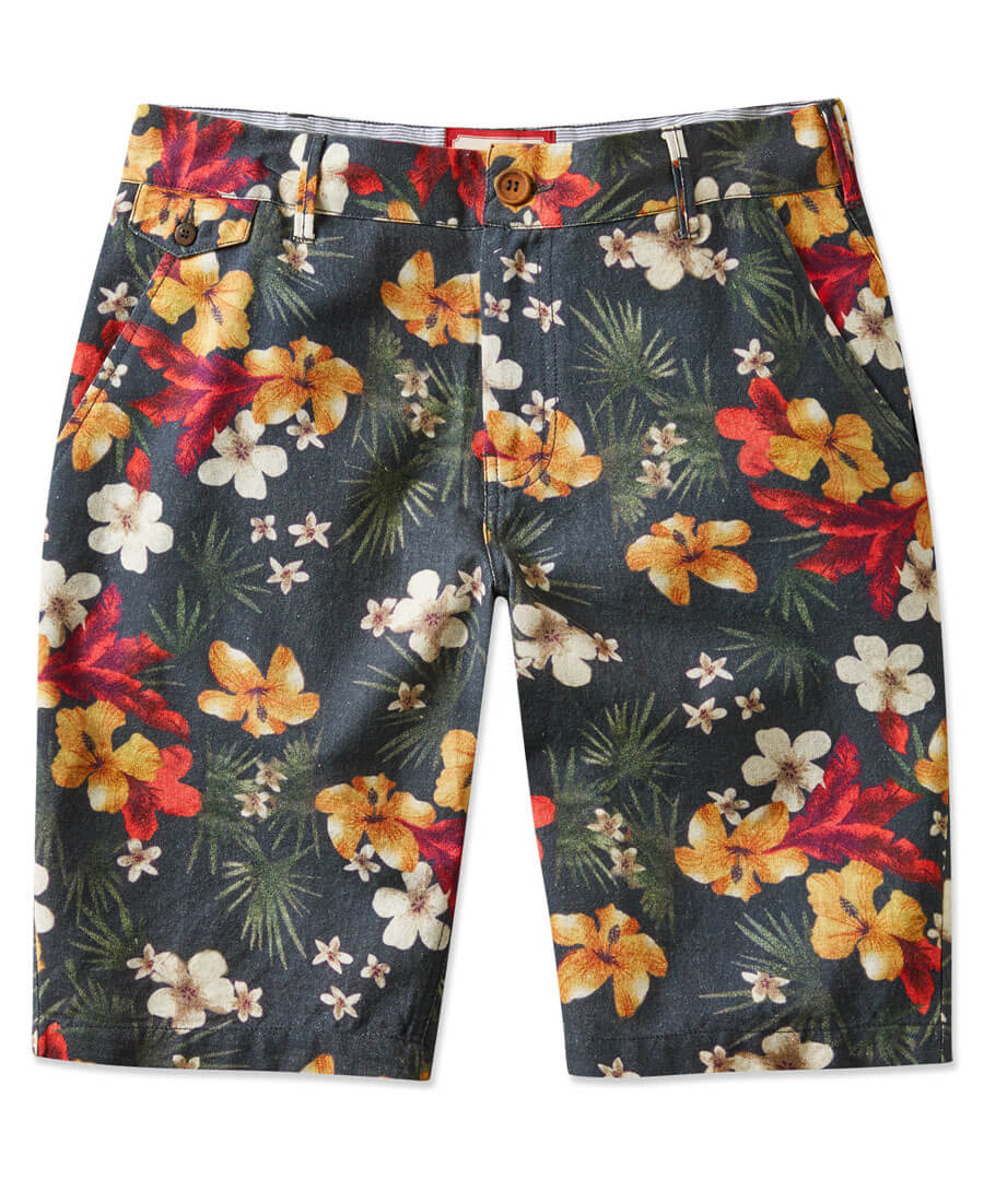 Funky Floral Shorts Model Front
