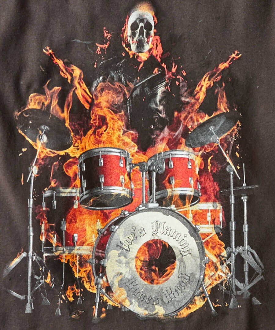 Drums On Fire Tee Back