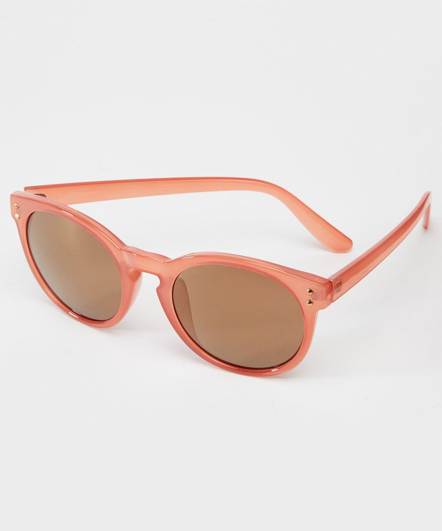Milky Pink Sunglasses Model Front
