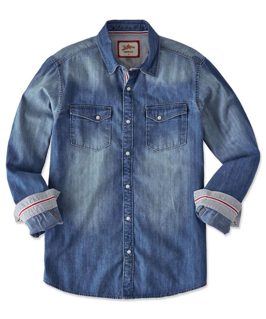 Distinctive Denim Shirt Model Front