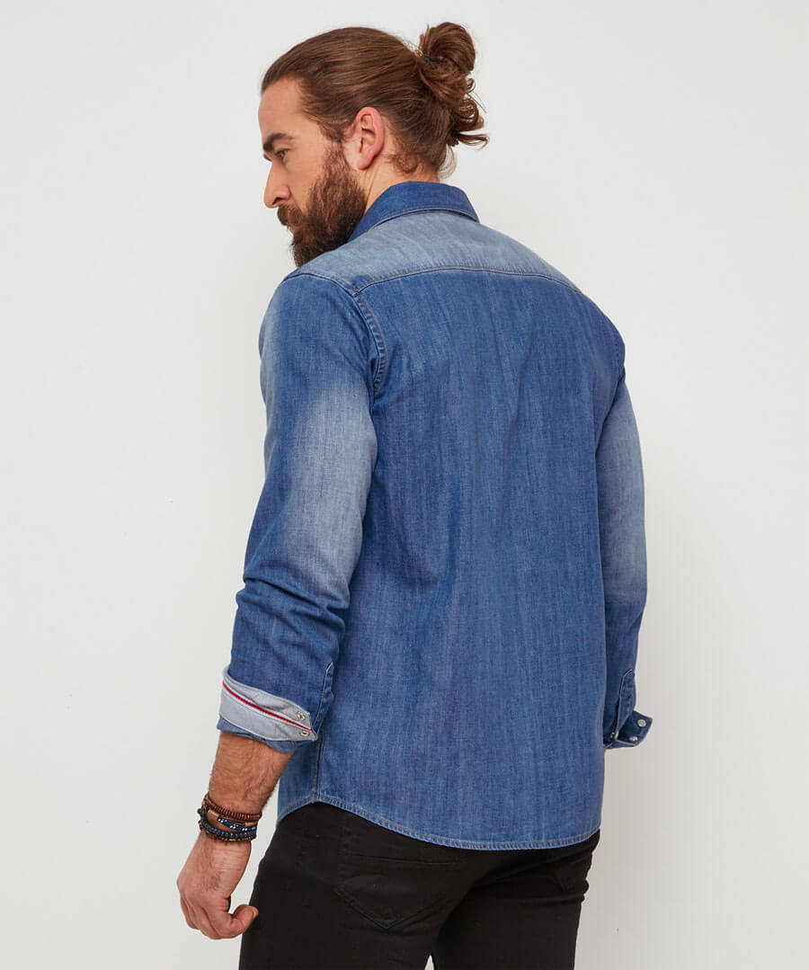 Distinctive Denim Shirt Model Back
