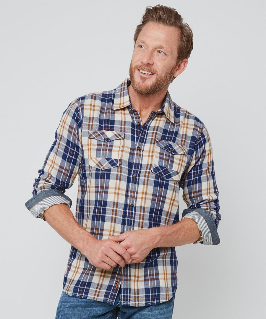 Two In One Check Shirt Model Front