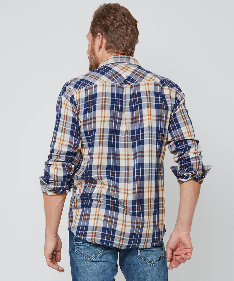 Two In One Check Shirt Model Back