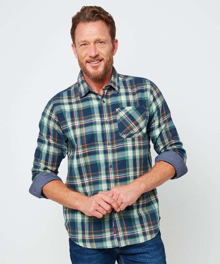 Comfortably Cool Check Shirt Model Front