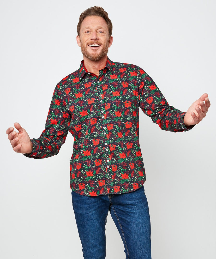 Christmas Floral Shirt Model Front
