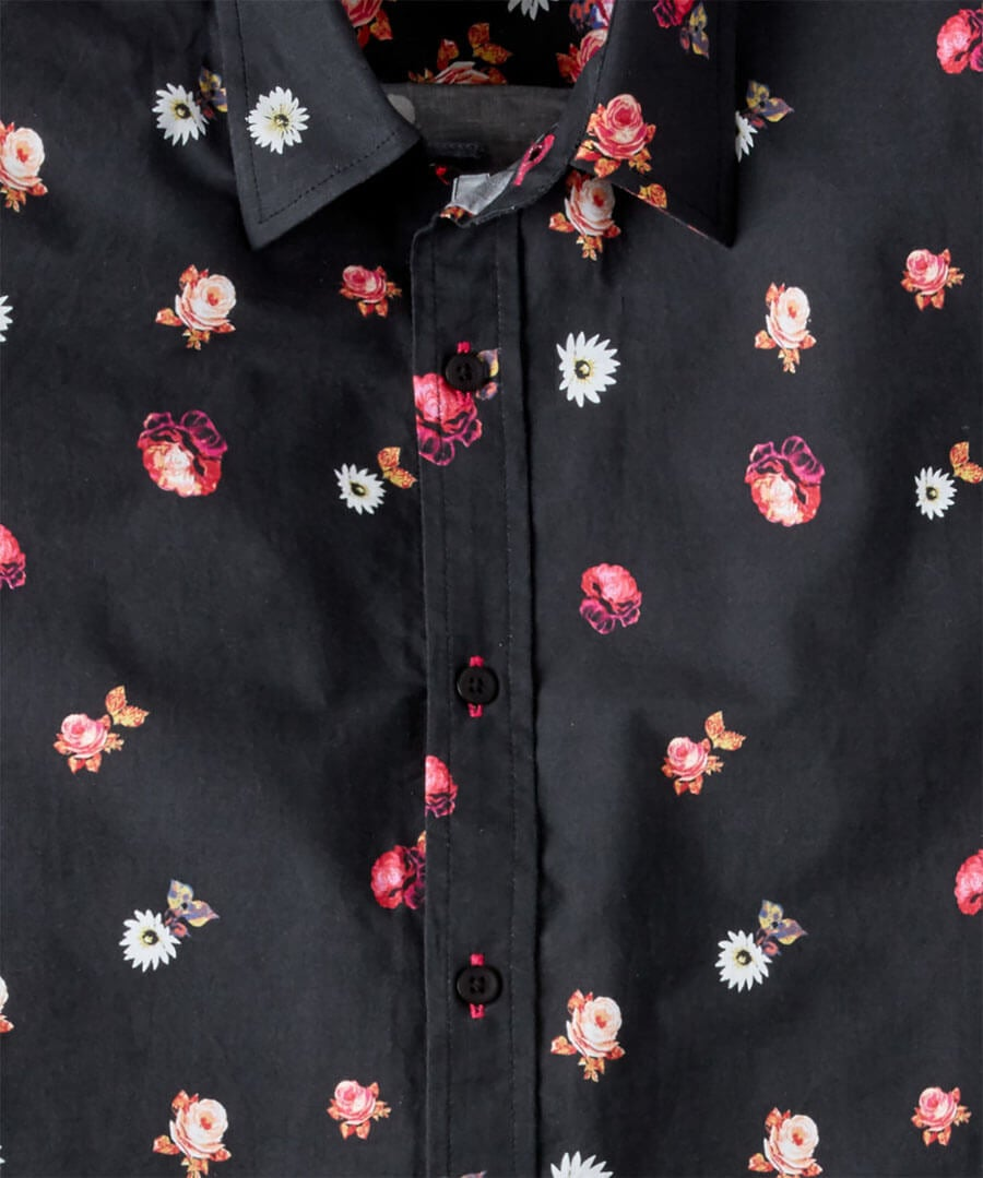 Floral Border Print Shirt Back