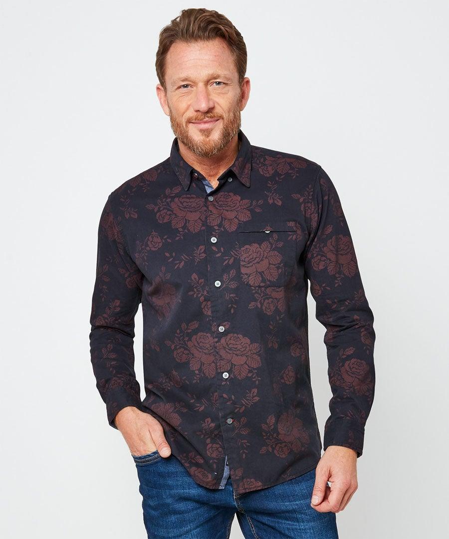 Rose Print Shirt Model Front