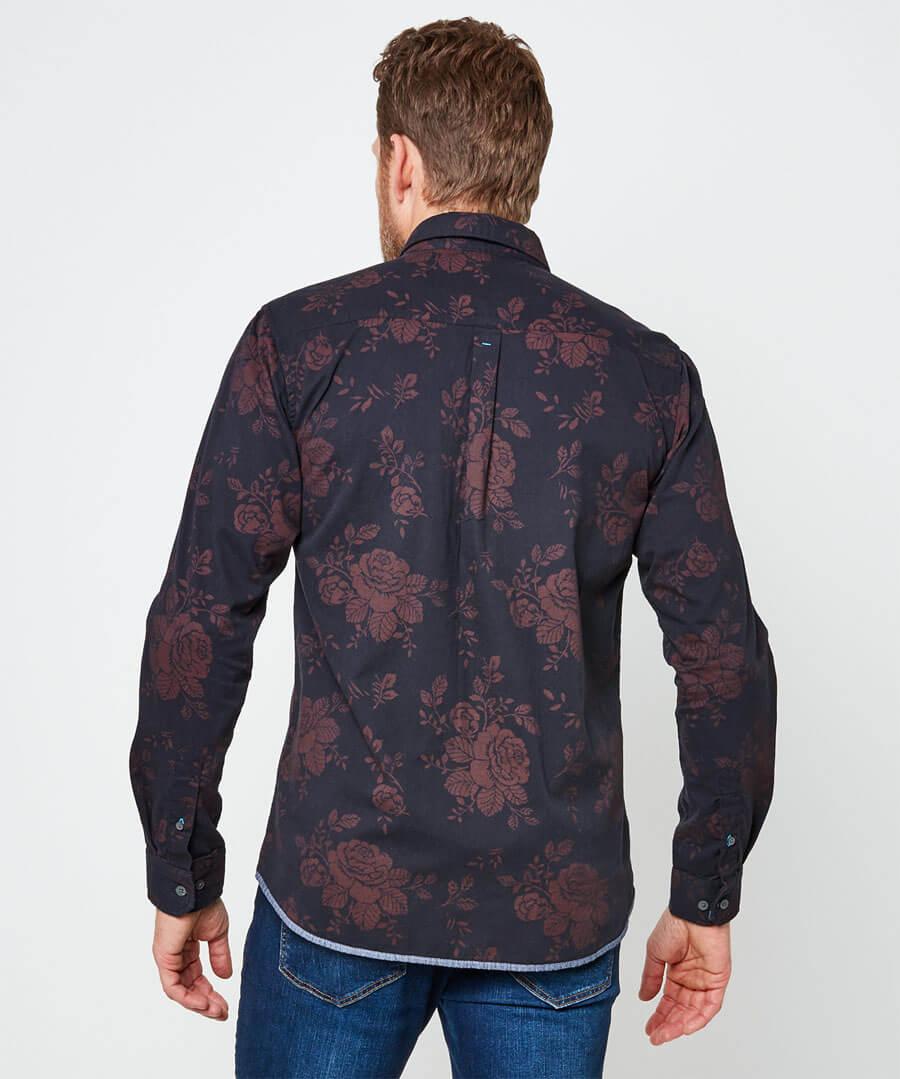 Rose Print Shirt Model Back