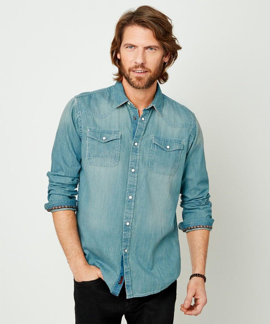 Customised Denim Shirt Model Front