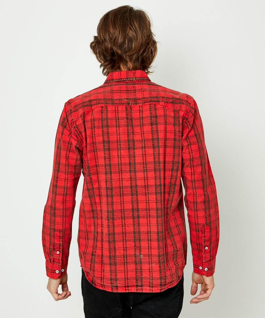 Rugged Check Shirt Model Back