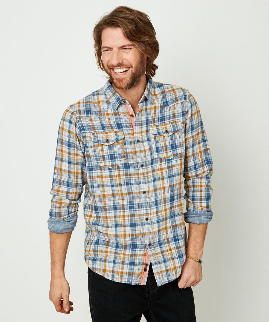 Two Way Check Shirt Model Front