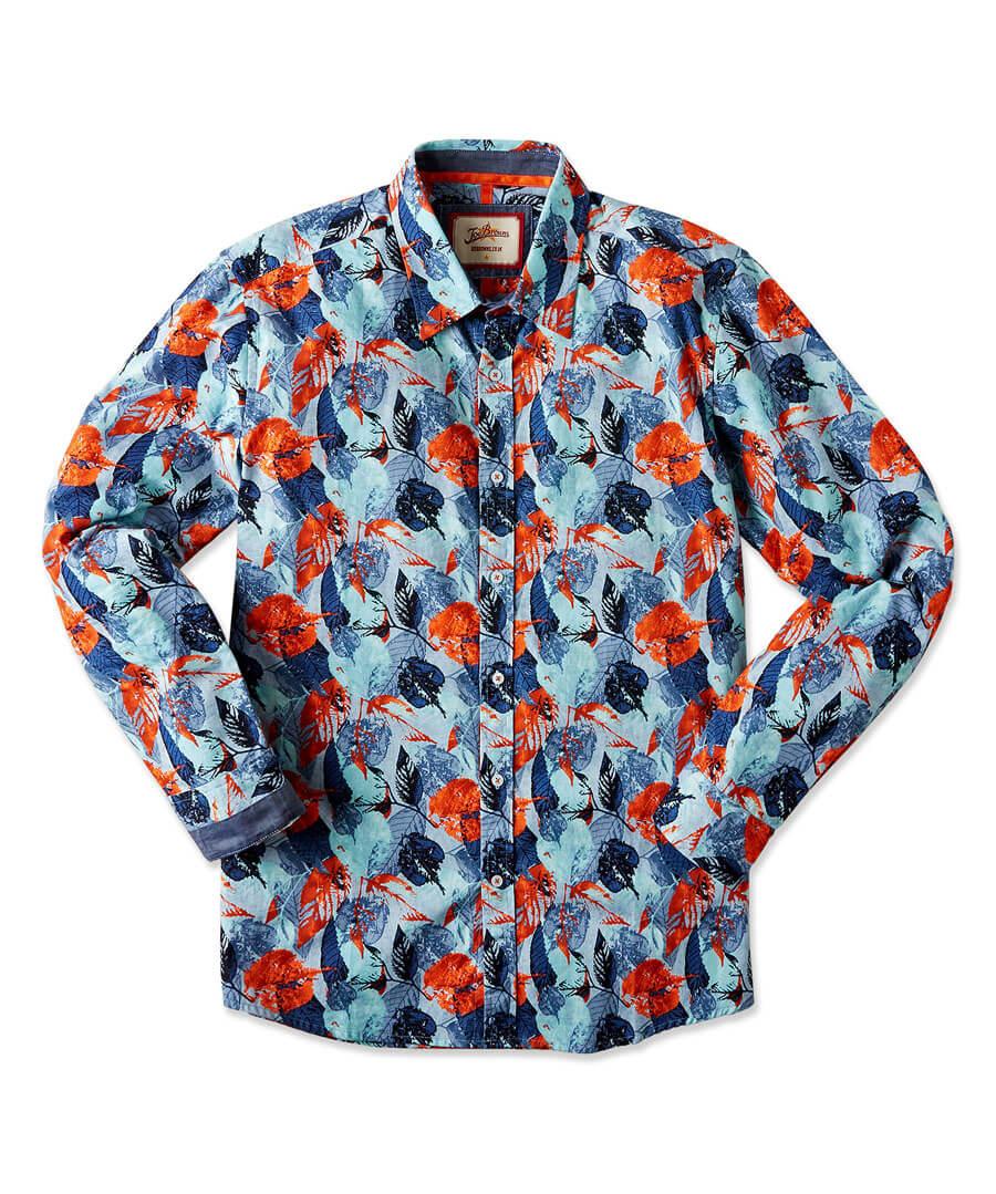 Denim Leaves Shirt Model Front