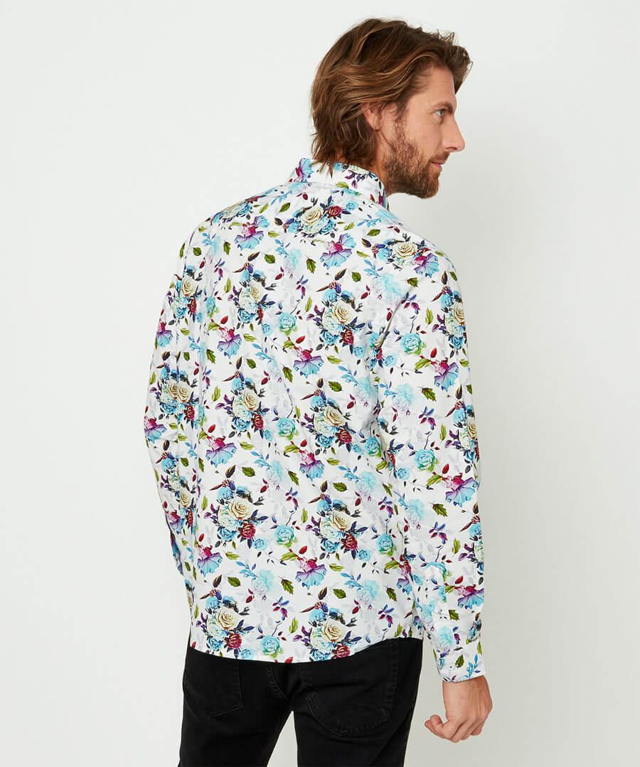 Funky Floral Shirt Model Back