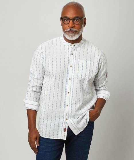Blue Stripe Grandad Shirt