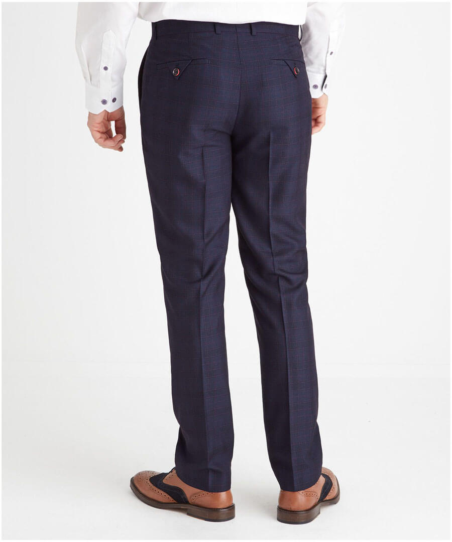 Check Suit Trousers Model Back