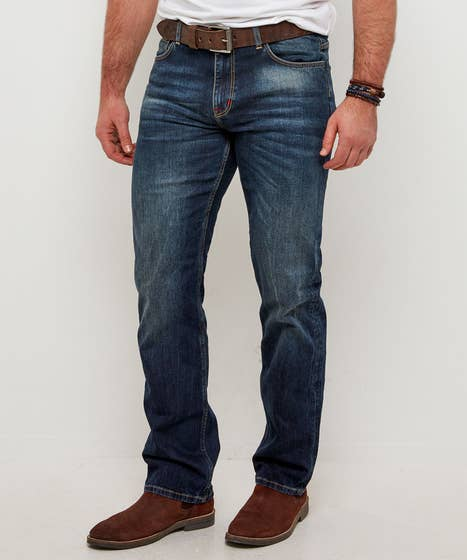 Dark Distressed Straight Jeans