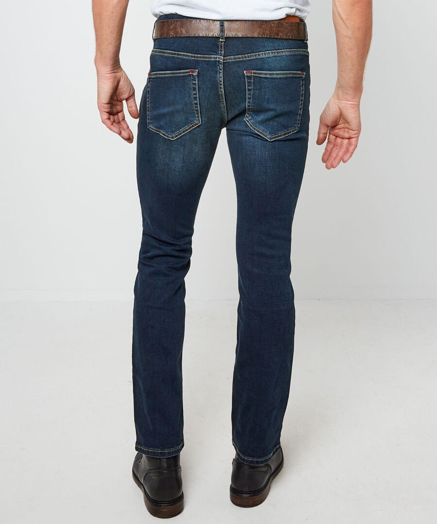 Dark Distress Straight Jeans Model Back
