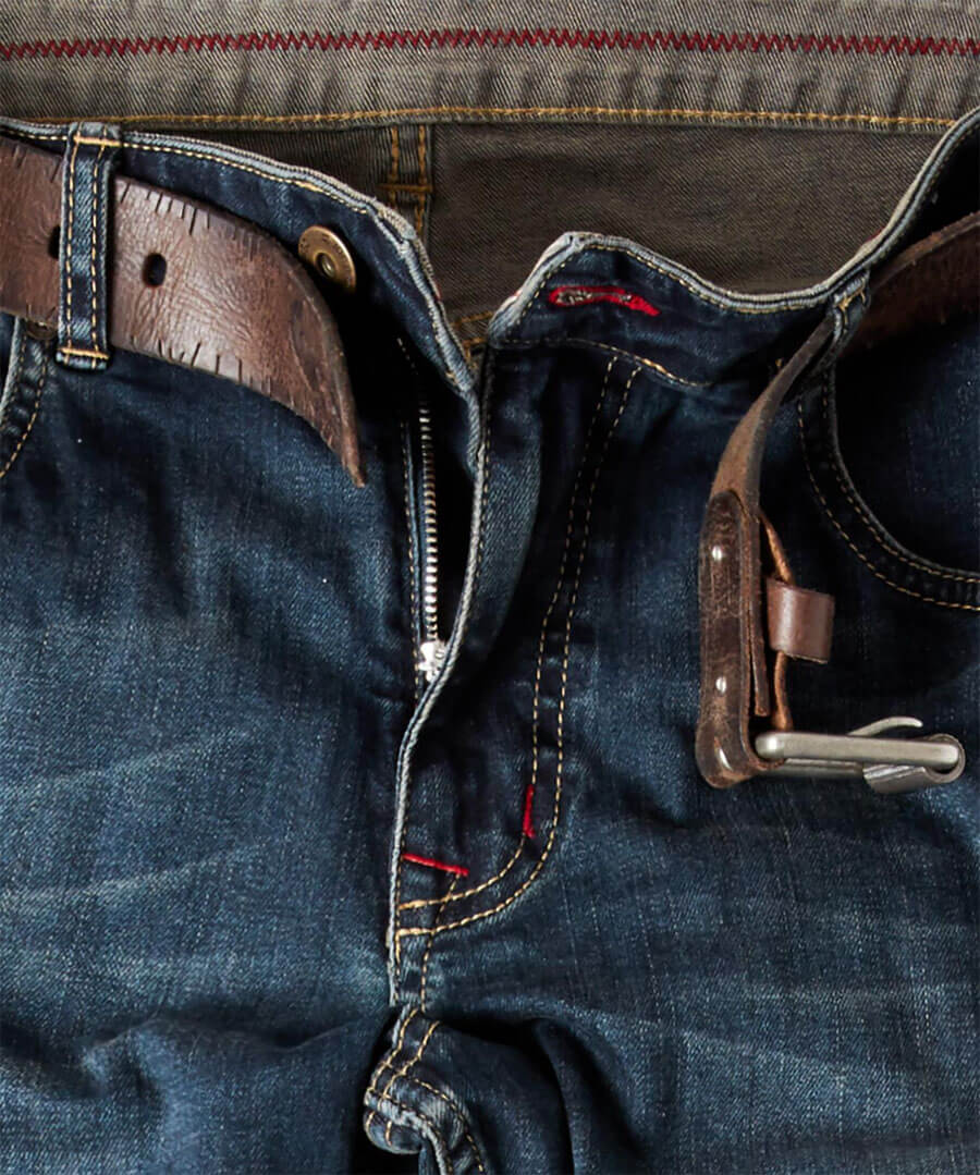 Dark Distress Straight Jeans Back
