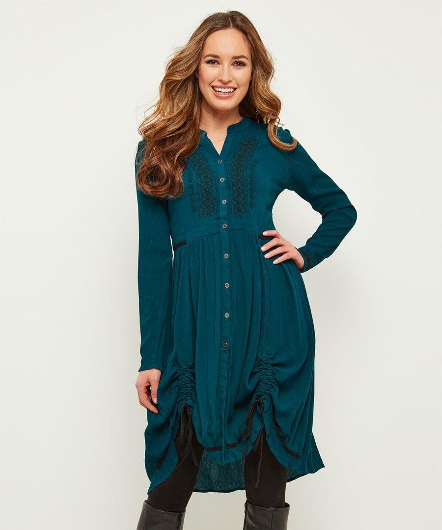 Elegant Hitched Shirt Dress Model Front