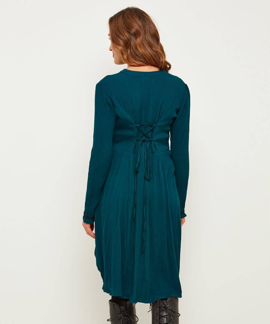 Elegant Hitched Shirt Dress Model Back