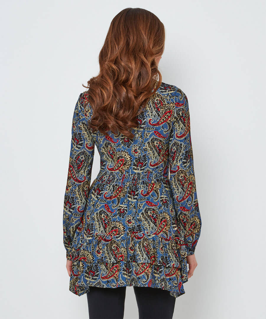 Quirky Waterfall Blouse Model Back