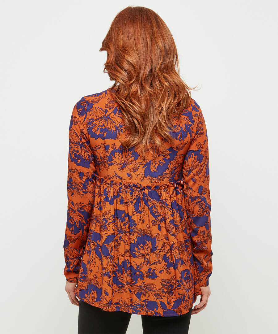 Abstract Floral Smock Model Back