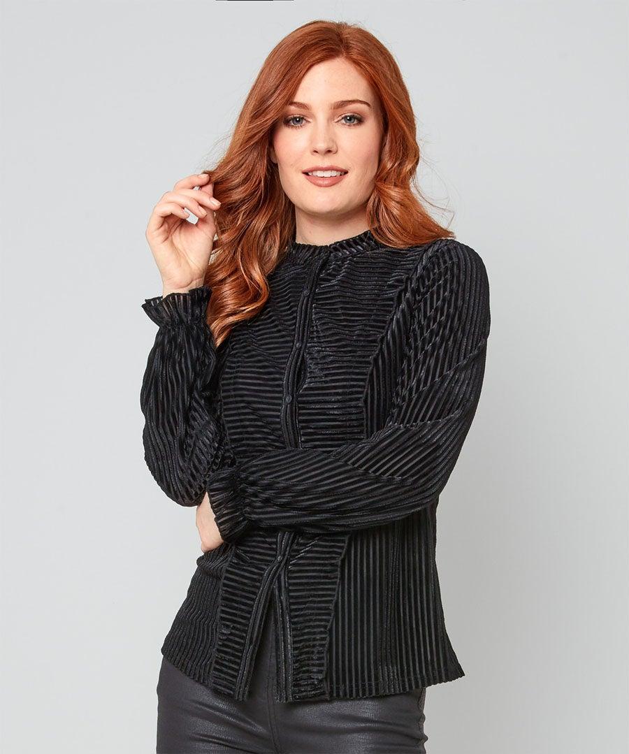 Elegant Stripe Velour Blouse Model Front