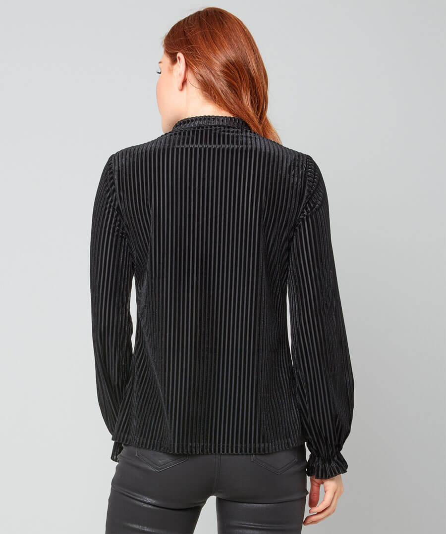 Elegant Stripe Velour Blouse Model Back