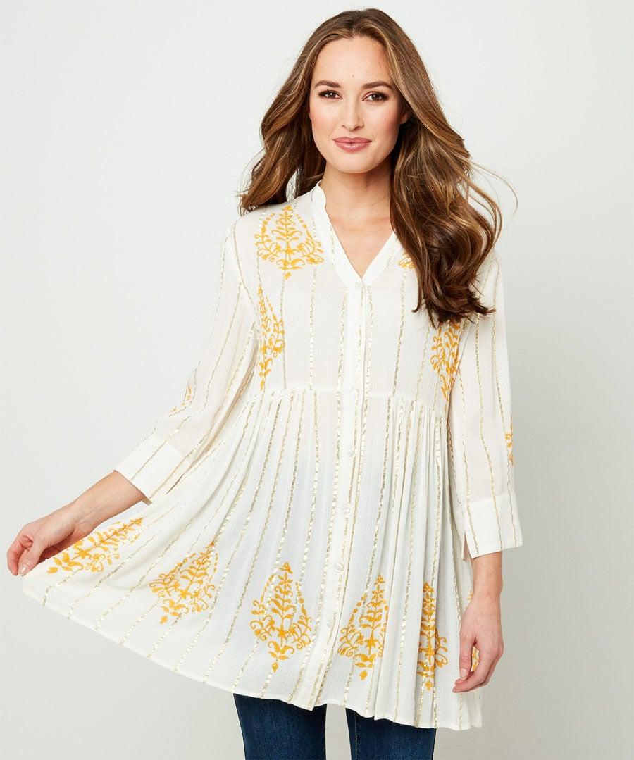 Golden Goddess Blouse Model Front