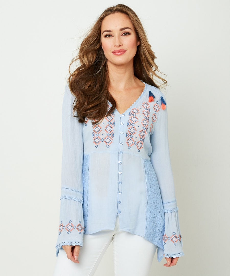 Crinkle Embroidered Blouse Model Front