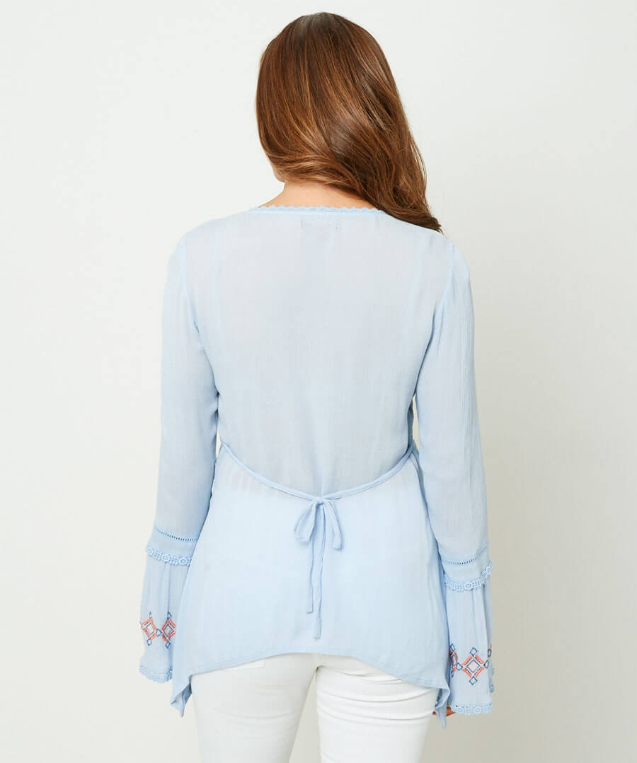 Crinkle Embroidered Blouse Model Back